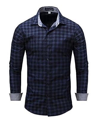 Winwinus Men's Long Sleeve Classic Plaid Cowboy Chic Button Down Shirt