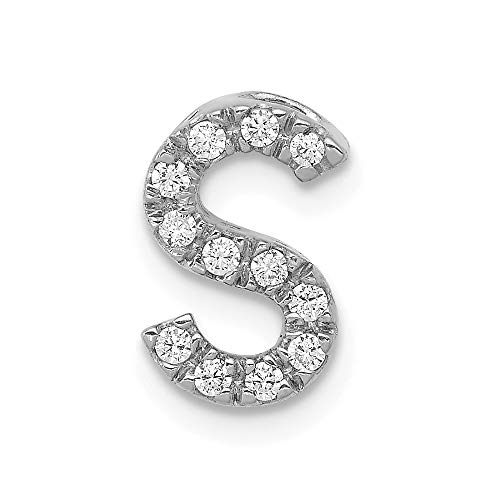 14k White Gold Diamond Initial S Charm