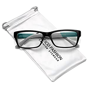 Clear Lens Rectangular Glasses (S-M Size) (Black - Turquoise, 52)