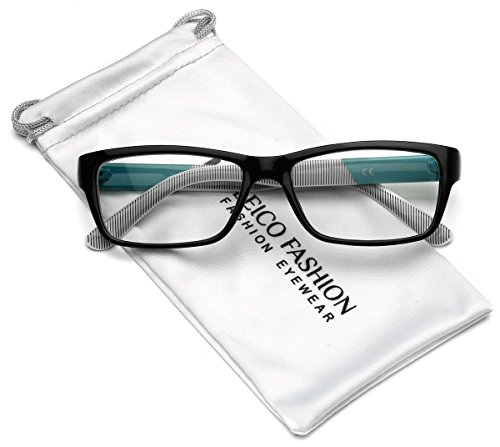 Clear Lens Rectangular Glasses (S-M Size) (Black - Turquoise, - Turquoise Glasses Frames