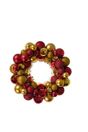 Holiday Wreath - Christmas Ornament Wreath by Clever Creations | Bright Red and Gold | Festive Holiday Décor | Classic Theme | Lightweight Shatter Resistant | Indoor or Outdoor | Countless Uses | 13.5