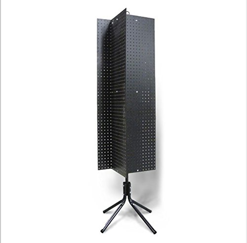 4 Sided Black 1/4'' Peg Board 1'' Oc Floor Spinner Display Rack with 61 1/4'' High