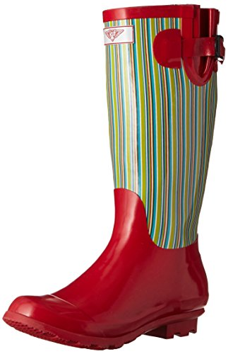 Pour Toujours Jeune - Femmes Wellie Rain Boot Lines Plaid