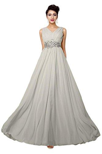 Promgirl House Elegant Chiffon A Linie V-Ausschnitt Abendkleider Ballkleider Lang Festkleider-42 Grau