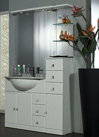 Mobile Arredo Bagno cm 100+30 con lavabo sottopiano Bianco Lucido ...