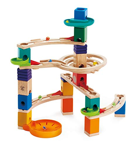 Hape Quadrilla Cliffhanger Wooden Marble Run | Marble Maze Run Set, Early Educational STEM Development Building Toys for Kids, Multicolor (Best Wooden Marble Run)