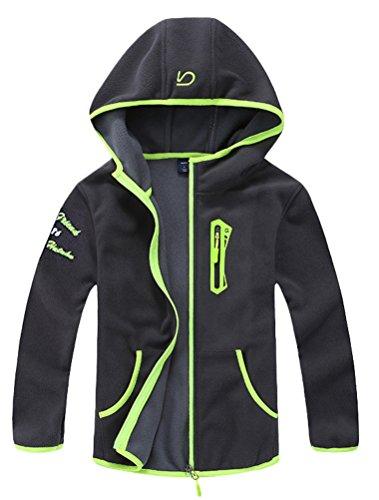 Mallimoda Boy's Hooded Jacket Coat Zipper Sweatshirt Outdoor Green 3-4 Years ()