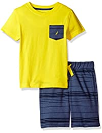 Nautica Boys' Two Piece Set with V-Neck Tee with Knit Short