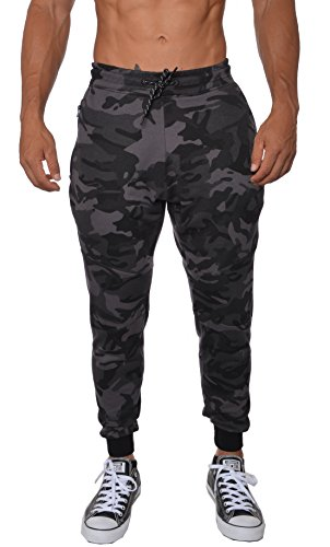 (YoungLA Men's Cotton Camouflage Joggers Sweatpants for Gym Athletic Training Pants Workout - Camo Black - Medium)