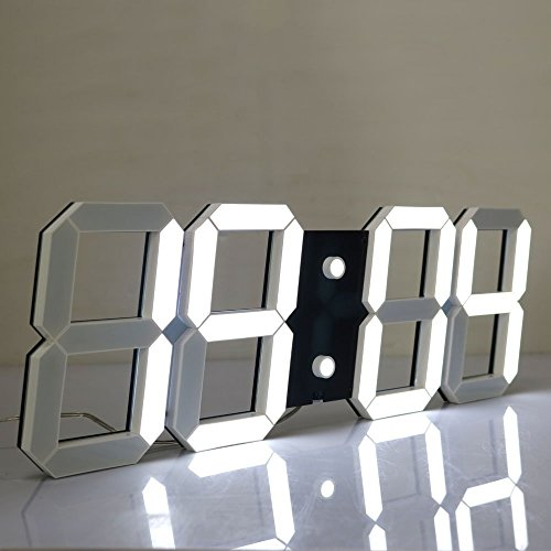 LambTown Large Display Led Wall Clock with Remote Control Countdown Count Up Led Clock Timer with Temperature Date 6'' White Led Digits Highly Visible for Home Gyms Church Sports - Timings Mall Great