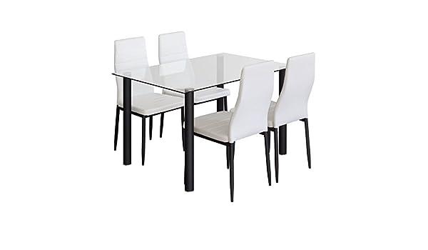 AMUEBLALO Conjunto Mesa Cristal y 4 sillas Blancas, Patas metálicas Negras para Comedor o Cocina - Elenia: Amazon.es: Hogar