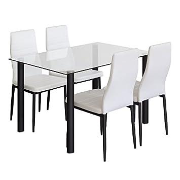 AMUEBLALO Conjunto Mesa Cristal y 4 sillas Blancas, Patas metálicas ...