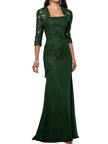 Dunkelgrün der Jacke Damen Braut Abendkleider Mutter mit Chiffon Spitze Lang Kleider Ballkleid xH6w4PRZ
