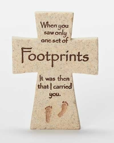Footprints I Carried You Sandstone Look 3 x 4 Inch Resin Stone Tabletop Cross ()