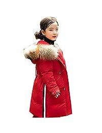 honuansortory Girl's Loose Hooded Down Coat Kid's Zipper Drawtring Warm Down Jacket with Big Pockests Winter Overcoat