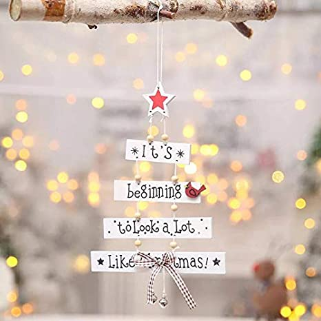 Cocobee Christmas Tree Hanging Decorations Christmas Door Decorations Wood Letter Christmas Decorations for Home Office Holiday Party Decorations White