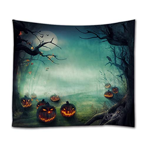 Goodbath Halloween Tapstry, Pumpkin Mysterious Forest Under The Moon Night Wall Hangings Tapestries for Bed Room Living Room Dorm, 80 x 60 Inch]()