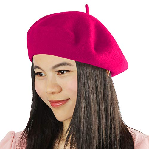 (Acecharming Womens French Style Beret Wool Beanie Hat Cap,Rose Red,Thick)