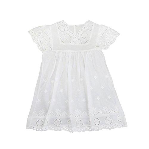Shybuy Baby Girls Sundress, Kids Floral Print Dress Lace Princess Hollow Dress Clothes Party Dress (White, 6T) by Shybuy