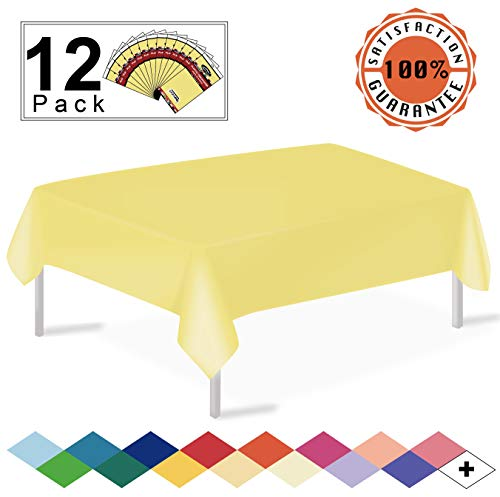12 Pack Plastic Tablecloth Light Yellow Disposable Table Covers Premium 54 x 108 Inches Table Cloth for Rectangle Tables up to 8 Feet and for Picnic Birthdays Weddings Events Occasions, PEVA Material