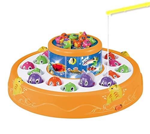 Haktoys Deluxe Fishing Game Toy Set with Double-Layer Rotating Board, Flashing Lights and Catchy Music | Includes 26 Fish and 4 Fishing Poles | Safe and Durable Gift Toy for Toddlers and Kids