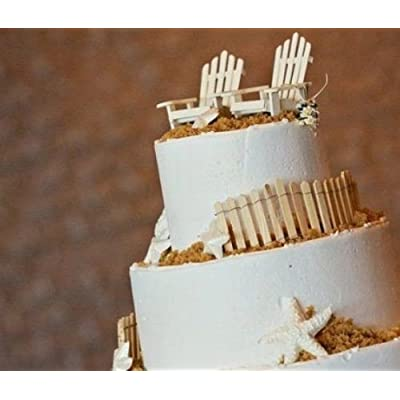 Darice 3 Adirondack Chairs Unfinished Cake Top Beach Theme Wedding : Garden & Outdoor