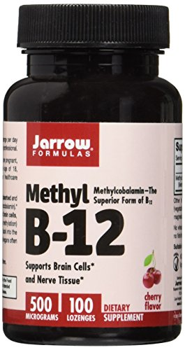Jarrow Formulas Methyl B-12 500 mcg, Supports Brain Cells and Nerve Tissue, 100 Lozenges - Jarrow B-12 Vitamins