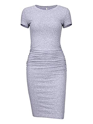 Laughido Women's Ruched Casual Plain Sundress Knee Length Sheath Bodycon T Shirt Dress