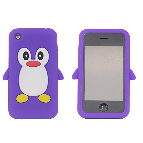 Tsmine Apple iPhone 3G, 3GS Penguin Cartoon Case - Cute 3D Penguin Soft Silicone Back Washable Cover Case Protective Skin for iPhone 3G, 3GS, Purple
