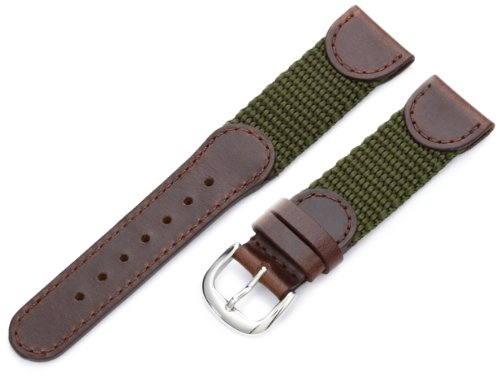 Hadley-Roma Men's MSM866RAB200 20-mm Brown and Olive 'Swiss-Army' Style Nylon and Leather Watch Strap