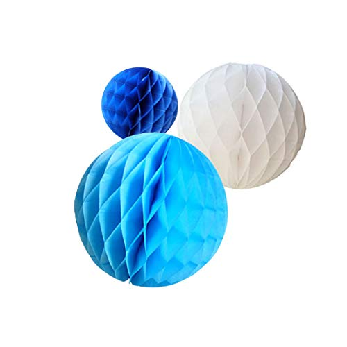 Daily Mall 15Pcs 3 inch 6 inch 8 inch Paper Honeycomb Balls Party Pom Poms Paper Balls Partners Design Art Craft Hanging Pom-Pom Ball Party Wedding Birthday Nursery Decor (White Blue Navy Blue)