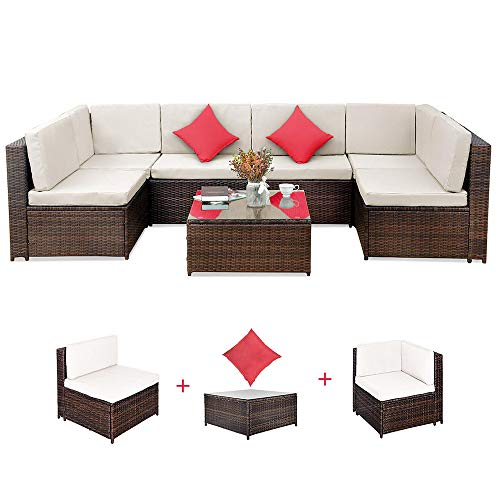 Romatlink, 7 Pieces Outdoor Rattan Patio Furniture Set, Modern Wicker Conversation Sectional Sofa Chairs with Cushioned Couch | Pillows & Glass Top Coffee Table, Perfect for Garden Lawn Pool Backyard (Quality Furniture Wicker)