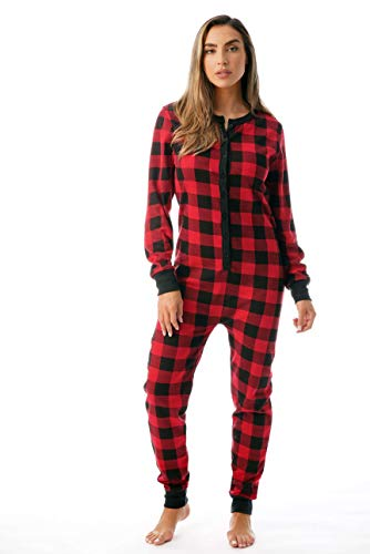 #followme Women's Printed Henley Thermal Onesie 6744-10195-RED-L]()