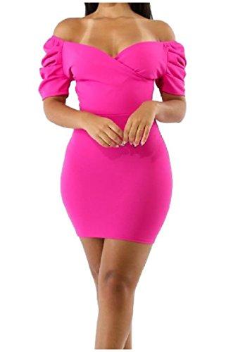 Collo Rosa Abiti Solidi Corta Coolred Colore Sexy Rossa donne Metà Eleganti Di Manica V FBTtRcU