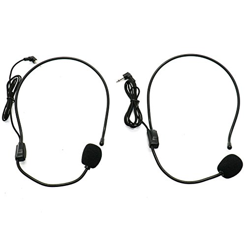 Set of 2 Headset Microphone, Flexible Wired Boom for Voice Amplifier,Teachers, Speakers, Coaches, Presentations, Seniors and (Mic Set)