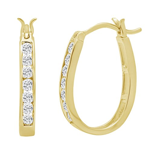 10K Yellow Gold Diamond Hoop Earrings (1/2ct tw) AGS Certified ()