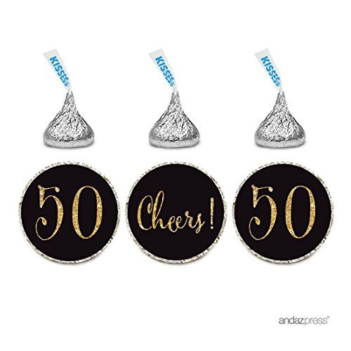 Andaz Press Gold Glitter Print Chocolate Drop Labels Stickers, Cheers 50, Happy 50th Birthday, Anniversary, Reunion, Black, 216-Pack, Not Real Glitter, For Hershey's Kisses Party Favors