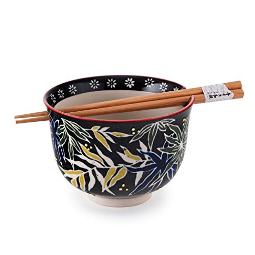 Quality Japanese Ramen Udon Noodle Bowl with Chopsticks Gift Set 5 Inch Diameter (Bamboo Leaves)
