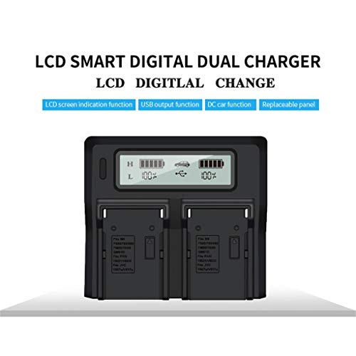 Lljin DuraPro Super Rapid Dual LCD Display Battery Charger for Sony NP-F550 F570 F750