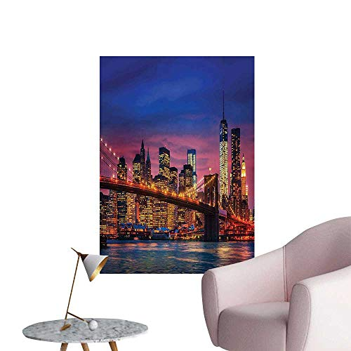 (Wall Decals NYC That Never Sleeps Image Neon Lights Reflections on East River City Environmental Protection Vinyl,24