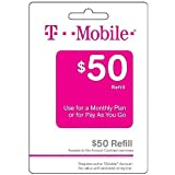 T-mobile $50 Prepaid Refill Card Monthly Plan / Pay As You Go No Annual Contract (Mail Delivery)