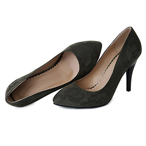 Femmes Bout Taoffen Dark Chaussures Fermé Green Talon 5 Enfiler À Briller Escarpins Haut FqddExHU