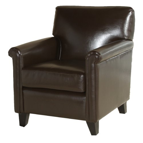 Best Leeds Classic Brown Bonded Leather Club Chair