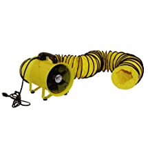 MaxxAir HVHF 12COMBO Heavy Duty 12-Inch Cylinder Fan with 20-foot Vinyl Hose, Yellow