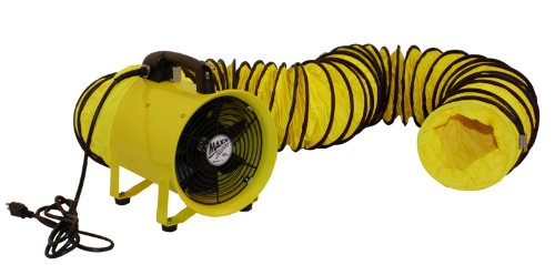 Axial Blower Ventilation (MaxxAir HVHF 12COMBO Heavy Duty 12-Inch Cylinder Fan with 20-foot Vinyl Hose, Yellow)