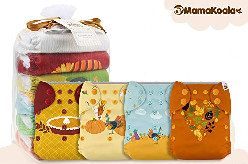 Mama Koala One Size Baby Washable Reusable Pocket Cloth Diapers, 6 Pack with 6 One Size Microfiber Inserts (Happy Fall)