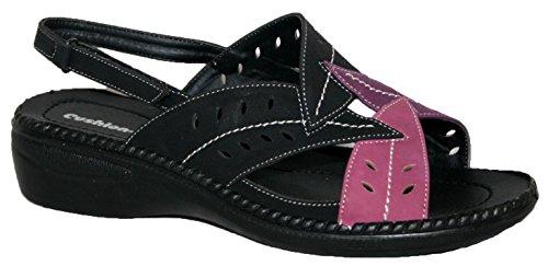 Cushion Walk - Sandalias para Mujer con tira trasera, diseño de hojas negro/rosa