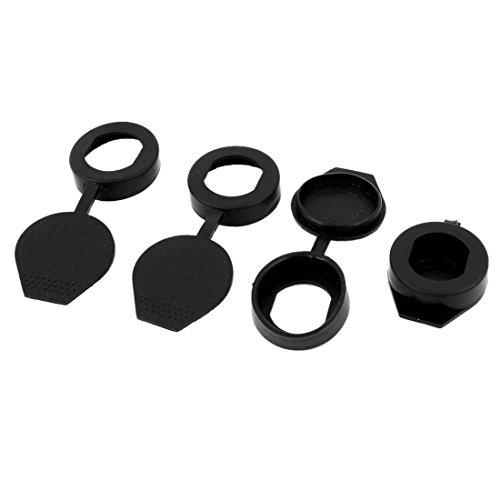 SODIAL(R) 4pcs Black Rubber Key Panel Cam Lock Dust Cover Waterproof - Key Black Tiffany