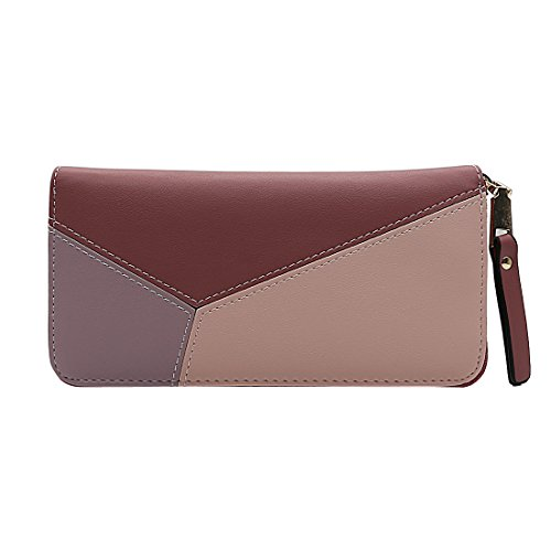 Women's Long Multi Color Zipper Wallet Clutch Leather Purse (pink)