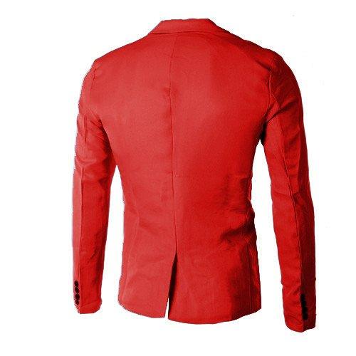 Casual Fashion Pulsante Formale Fiesta Da Colletto Giacca Uomo Cappotto Rosso Blazer Lunghe Elegante Completo Basic Maniche Maglia Abito Un Homebaby Lavoro In AaYqwU